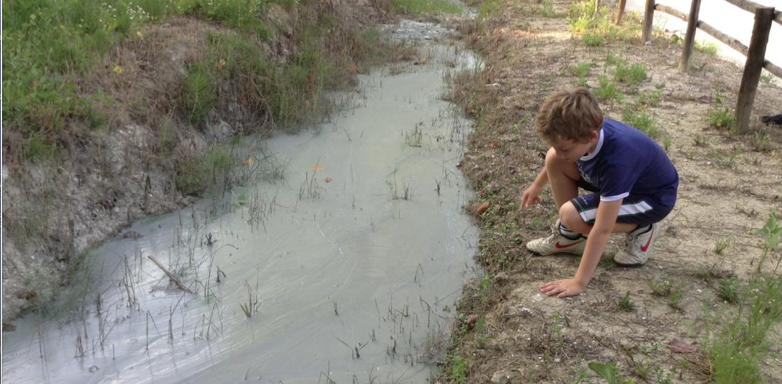 Vulcanello di fango allo stato liquido.