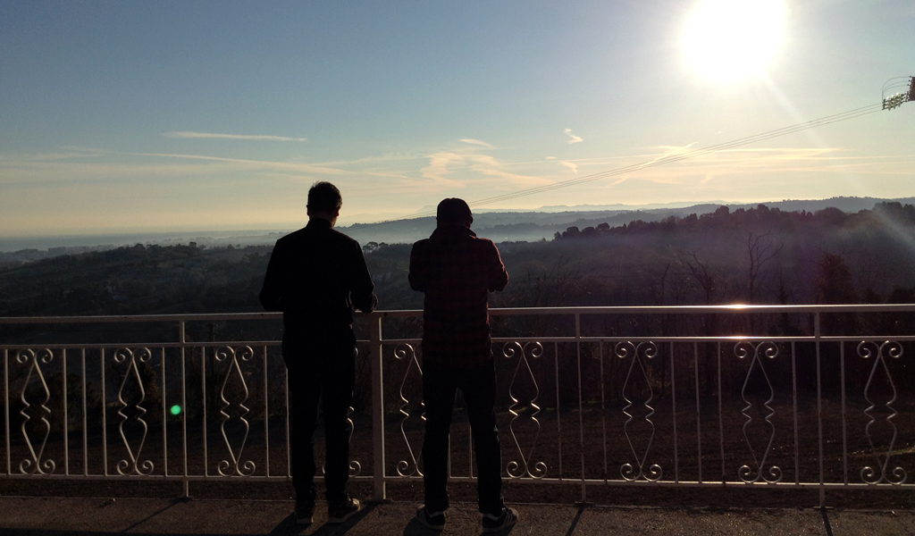Kenneth and Bobby looking the landscape from the Bel Sit Hotel in Senigallia.