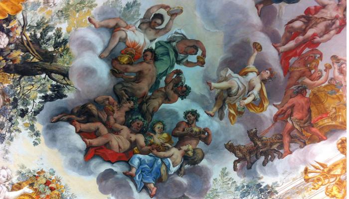 Dettaglio dell'affresco che decora interamente il soffitto della Sala dell'Eneide.